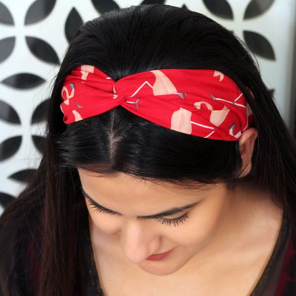 RED FLORAL PRINT HAIRBAND