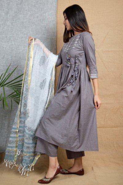 GREY-ANARKALI Suit Set