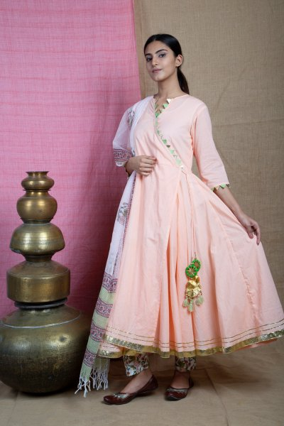 Peach-Ang-rakha ANARKALI Suit Set