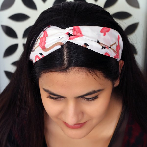 WHITE FLORAL PRINTED HAIRBAND